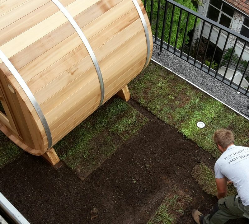 tuinaanleg van een groendak met sauna