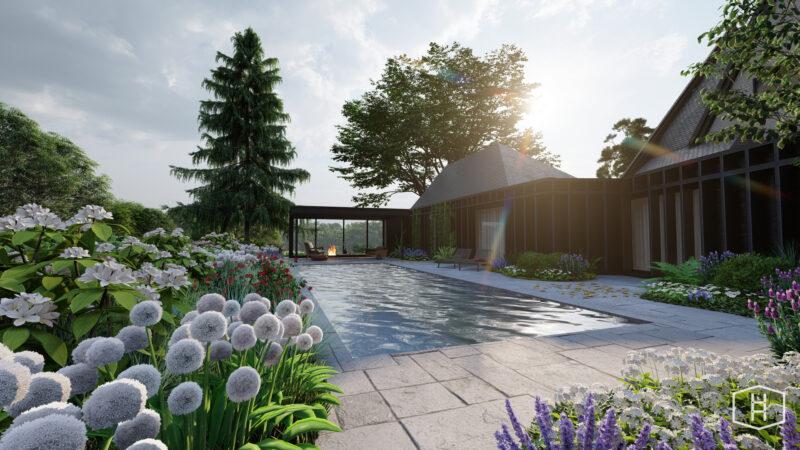 tuinontwerp met zwembad en poolhouse