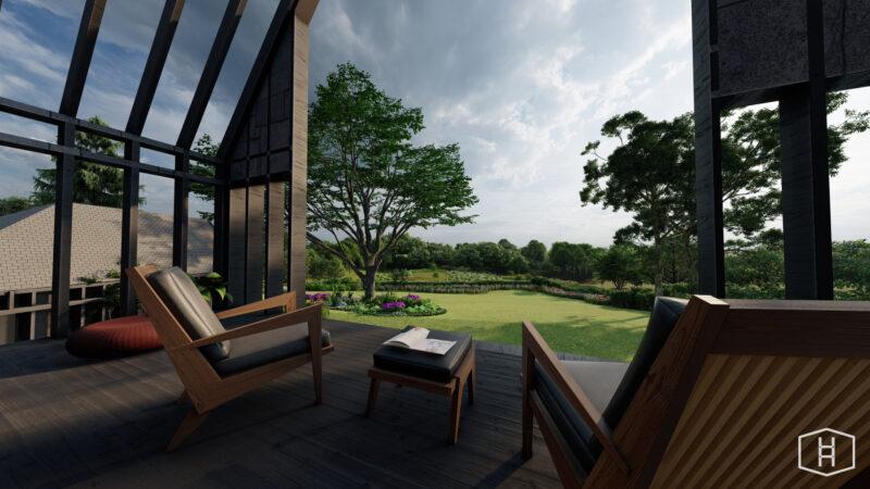 Een tuinontwerp met stoelen en zicht op de tuin
