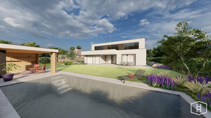 Een render van een moderne tuin met zwembad en poolhouse
