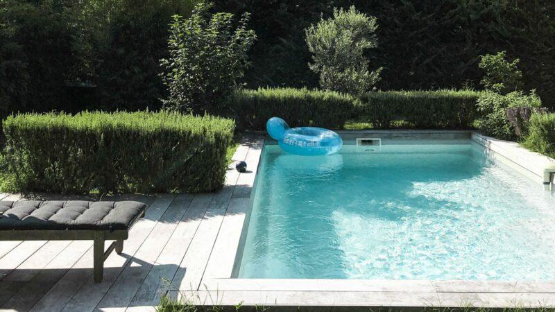 zwembad met houten terras en haag