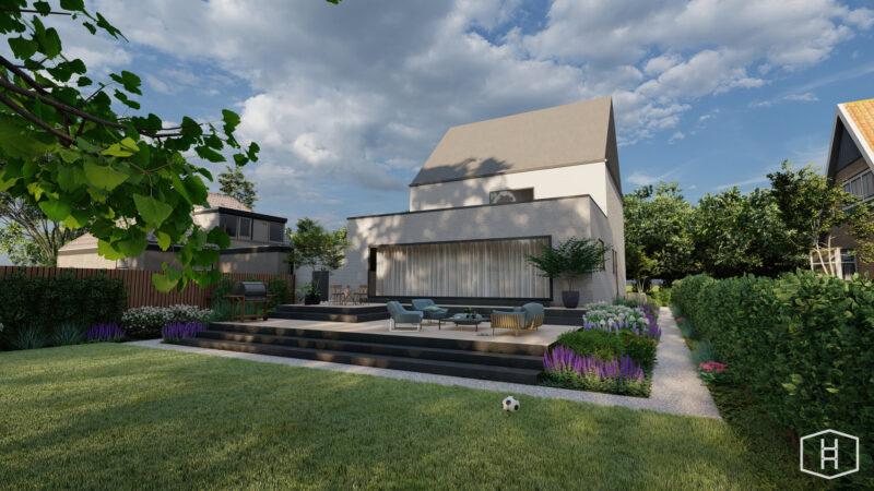 een tuinontwerp met een terras en trappen bij een moderne woning