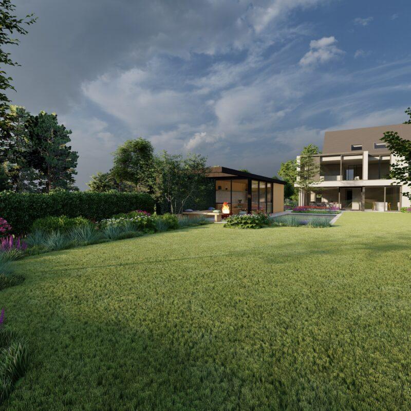 natuurlijke tuin bij een moderne woning en poolhouse