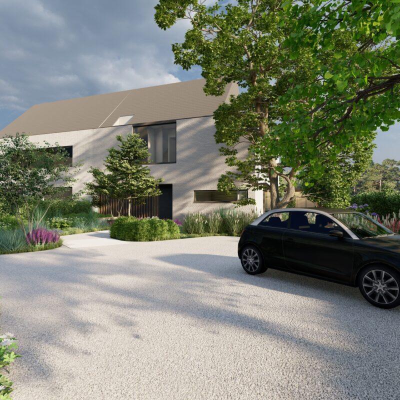 oprit met veel planten en een auto bij een moderne woning
