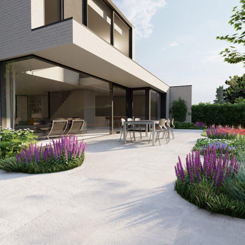 terras bij een moderne woning