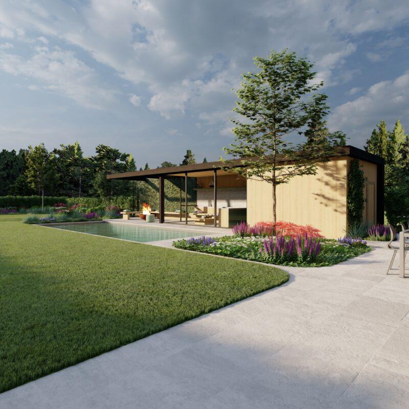render van een modern poolhouse met zwembad in een tuin.