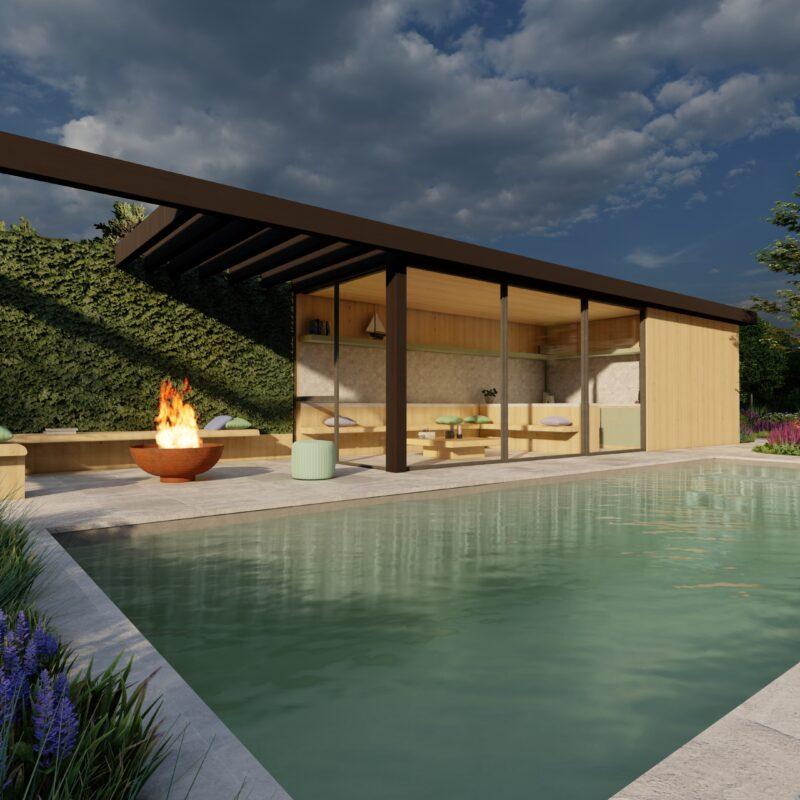 render van een modern poolhouse met zwembad in een tuin met vuurschaal