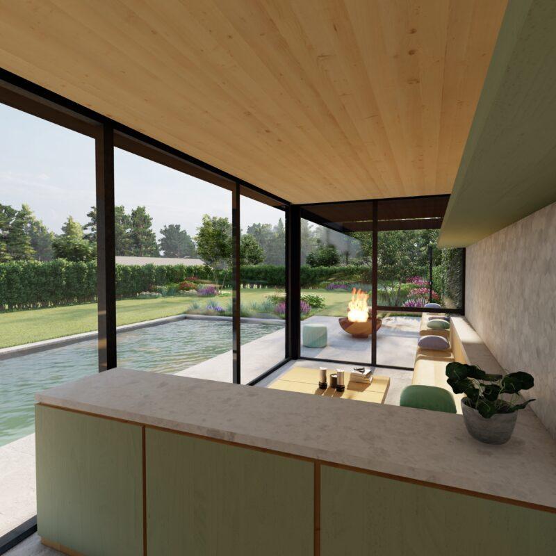 interieur van een modern poolhouse en zwembad