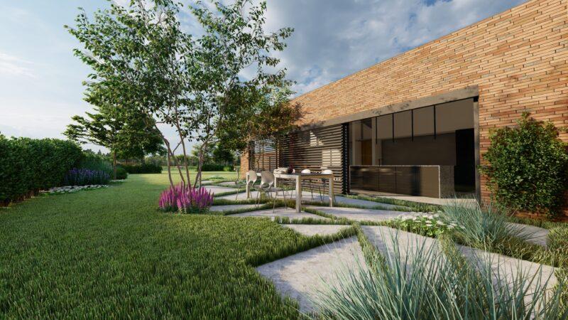 tuinontwerp met tafel en stoelen op een betonnen terras